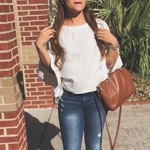 Tops - Cream and gold top